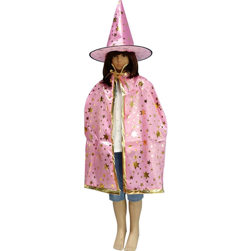 Kids Witches Wizard Cape and Hat Costume Cosplay Set (Adult size available)