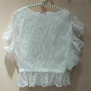 2-7Y Kids White Lace Blouse A20215E