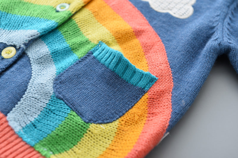 3-8Y Kids Knitted Rainbow and Clouds Cardigan A2085N
