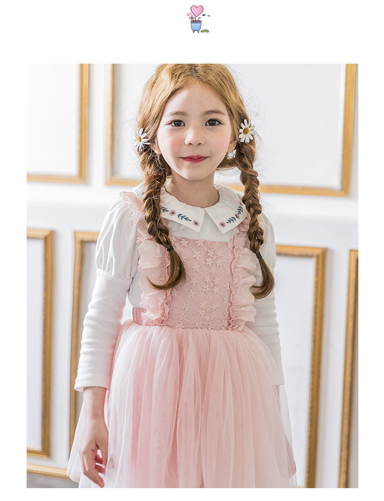 3-15Y Girls Pink Lace Tulle Pinafore Dress A20129J