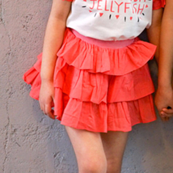 2-7Y Girls Red Pink Layers Skirt G214H