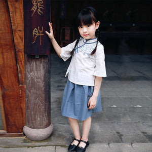 2-8Y Girls Cheongsam Top and Skirt 2pcs Set A200C12I (Mother sizes available)