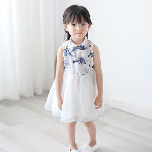 2-8Y Girls Cheongsam Tulle Dress with Lining A200C13F