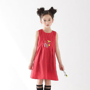 3-15Y Girls Red Chinese Embroidery Dress A200C18H
