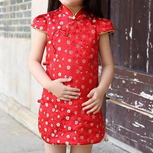 1-6Y Girls Red Chinese Cheongsam Dress A200C63N
