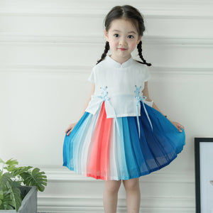 1-6Y Girls Rainbow Pleated Cheongsam Dress A200C64I