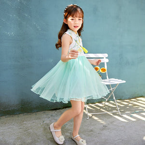 3-15Y Girls Embroidery Cheongsam Tulle Dress A200C69A