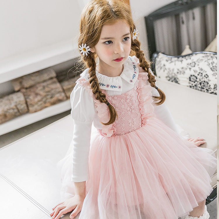 c7cc588b9e4 3-15Y Girls Pink Lace Tulle Pinafore Dress A20129J