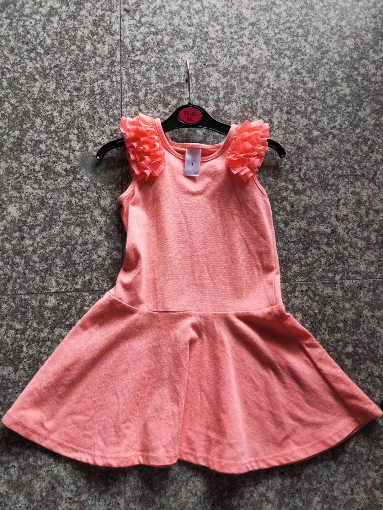 1-7Y girls Ruffles Sleeves Casual Dress A20132B