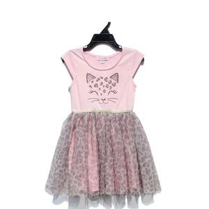 2-7Y Girls Pink Leopard Tulle Dress A20133G