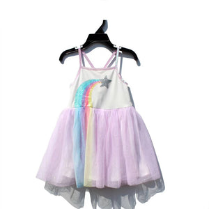 Girls Rainbow Tulle Dress A20133J