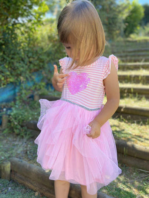 2-8Y Girls Pink Stripes Tulle Dress A20136L