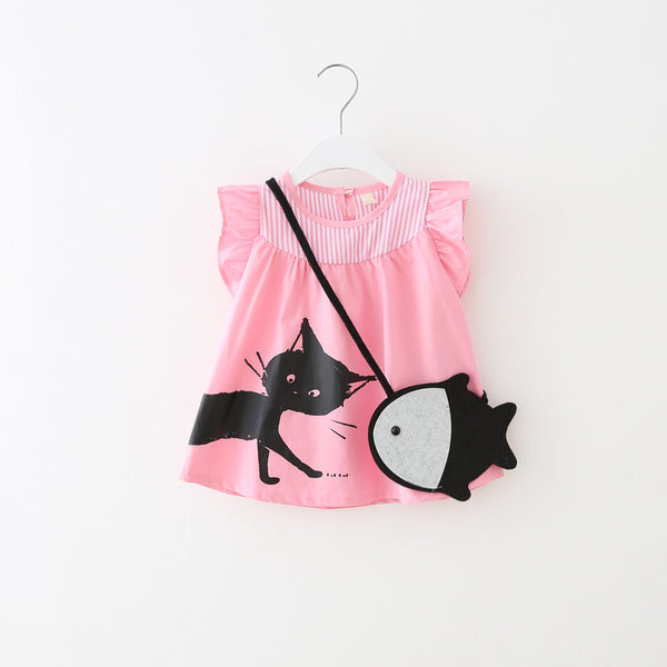 1-4Y Girls Pink Kitten Dress A2013M