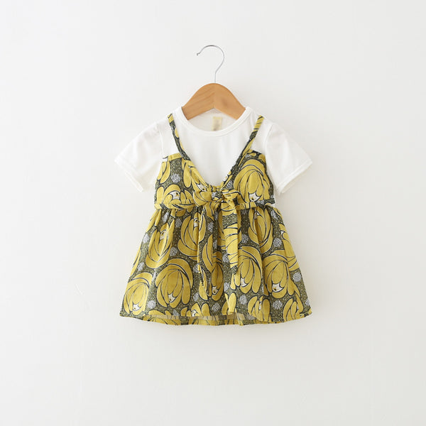 1-4Y Girls White Yellow Flowers Dress A2013N