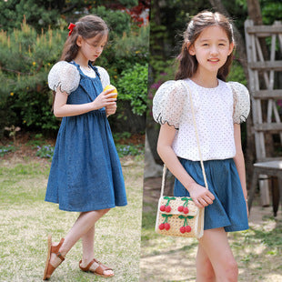 3-15Y Girls Puffy Sleeves Blouse A20218C (Mother size available)
