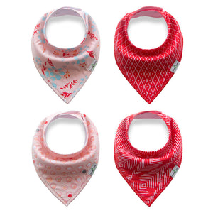 Set of 4 Baby Bandana Drool Bibs with Adjustable Snaps A321A1C