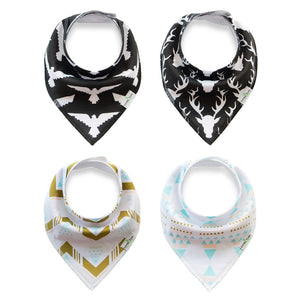 Set of 4 Baby Bandana Drool Bibs with Adjustable Snaps A321A1I
