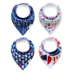 Set of 4 Baby Bandana Drool Bibs with Adjustable Snaps A321A1K