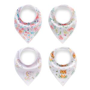 Set of 4 Baby Bandana Drool Bibs with Adjustable Snaps A321A1O