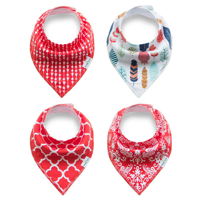 Set of 4 Baby Bandana Drool Bibs with Adjustable Snaps A321AA