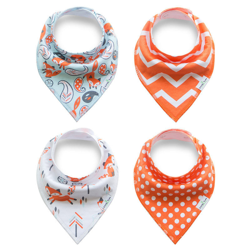 Set of 4 Baby Bandana Drool Bibs with Adjustable Snaps A321AB