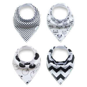 Set of 4 Baby Bandana Drool Bibs with Adjustable Snaps A321AC