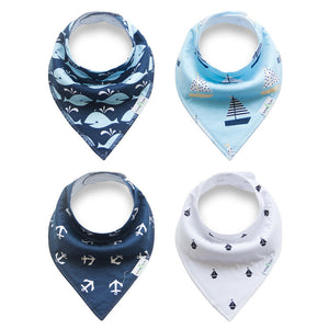 Set of 4 Baby Bandana Drool Bibs with Adjustable Snaps A321AE