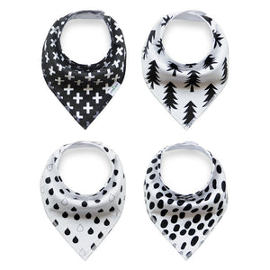 Set of 4 Baby Bandana Drool Bibs with Adjustable Snaps A321AH