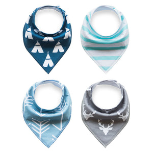 Set of 4 Baby Bandana Drool Bibs with Adjustable Snaps A321AJ