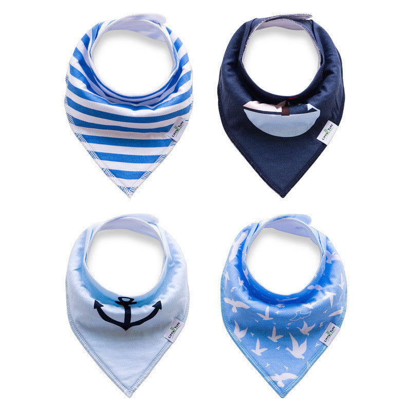 Set of 4 Baby Bandana Drool Bibs with Adjustable Snaps A321AK