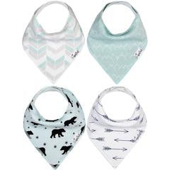 Set of 4 Baby Bandana Drool Bibs with Adjustable Snaps A321QB