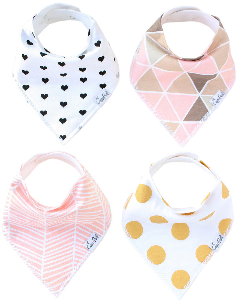 Set of 4 Baby Bandana Drool Bibs with Adjustable Snaps A321QD