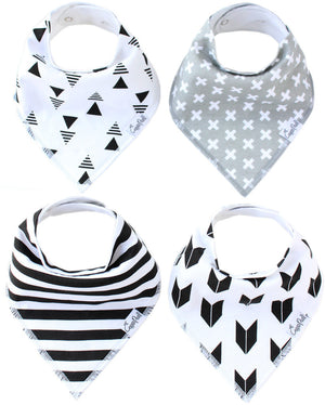Set of 4 Baby Bandana Drool Bibs with Adjustable Snaps A321QE