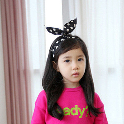100% Handmade Kids Black Polka Dots Fabric Hairband A323G102C
