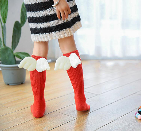 1-10Y Kids Knee High Long Red Socks with Wing A3253L12
