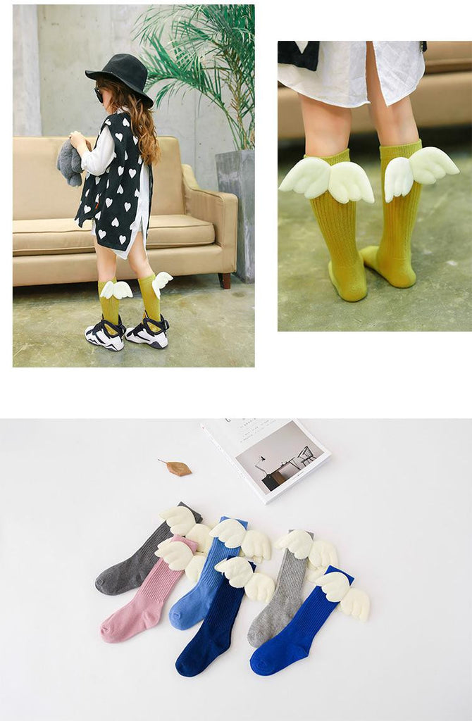 1-6Y Kids Knee High Long Blue Socks with Wing A3253L10