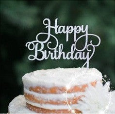 Party Cake Topper Set Happy Birthday Silver A7031A