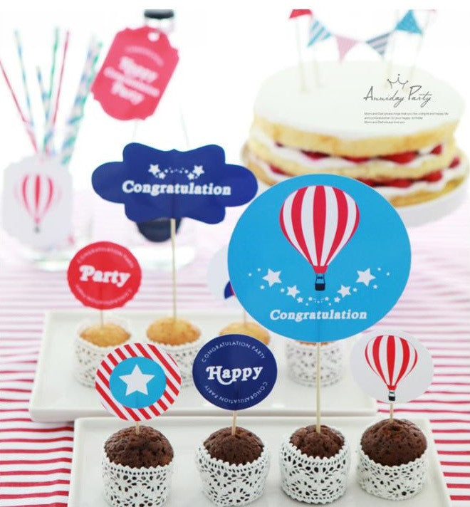Party Cake Topper Set Hot Air Balloon Congratulation A7032A