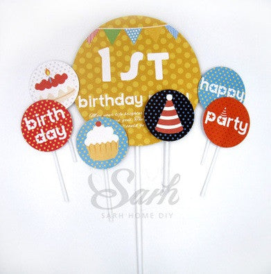 Party Cake Topper Set 1st Birthday Party A7032C