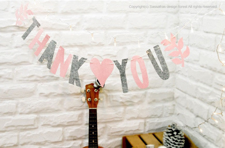 Party Flag Bunting Garland Set Thank You A7042F