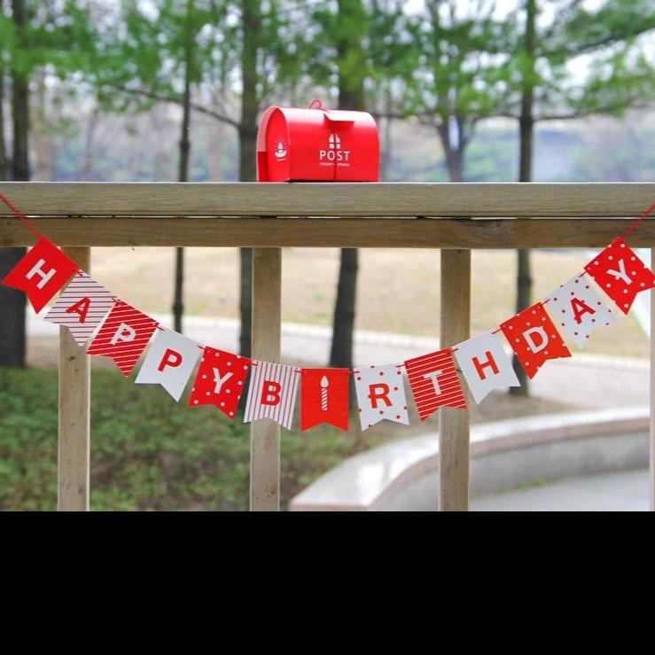 Party Flag Bunting Garland Set Red and White Happy Birthday A7042L