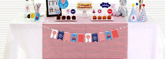 Party Flags Garland Set Rocket and Hot Air Balloon A7043A