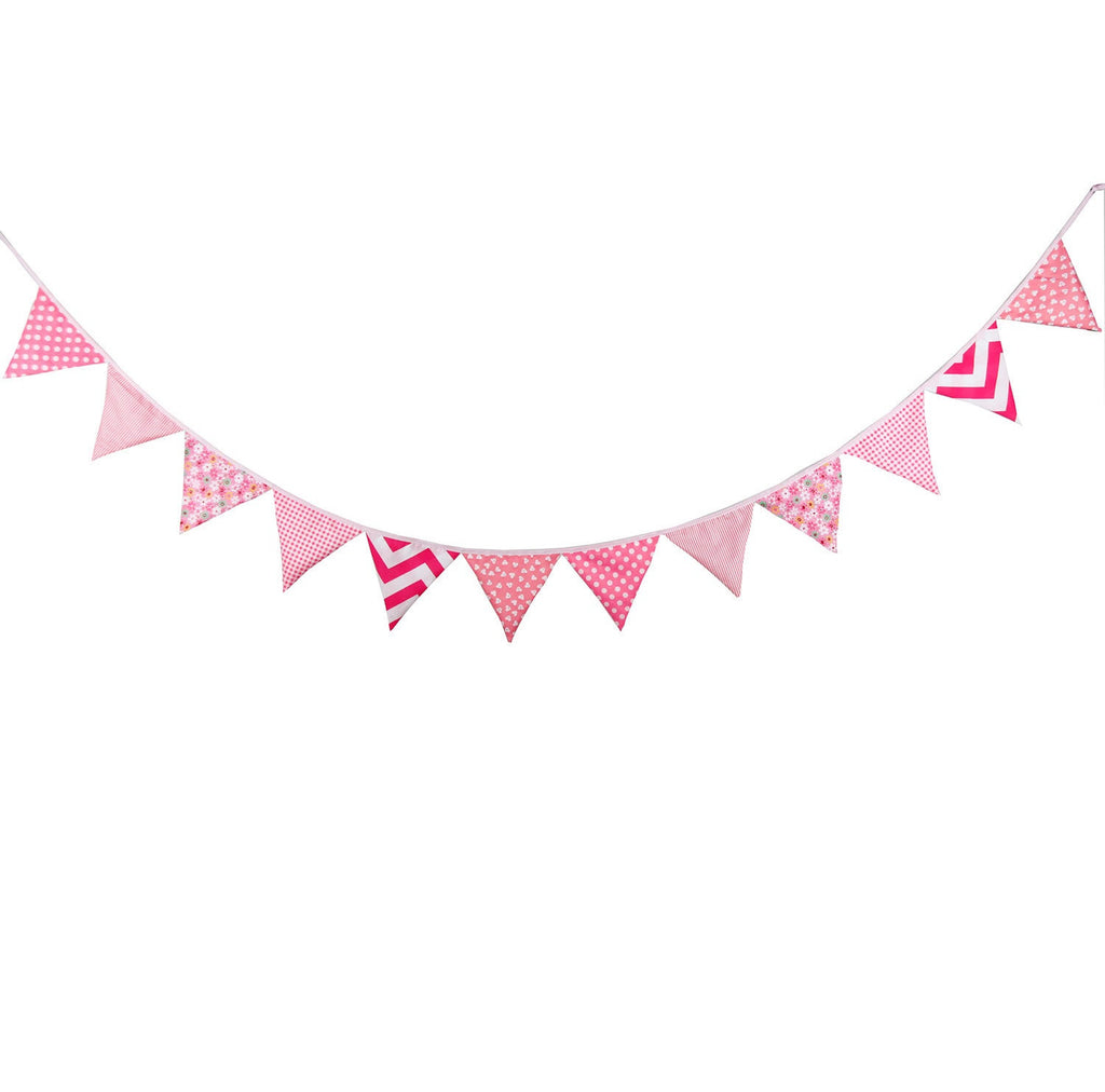 Party Fabric Bunting Flags Garland Set Pink Series A7045A