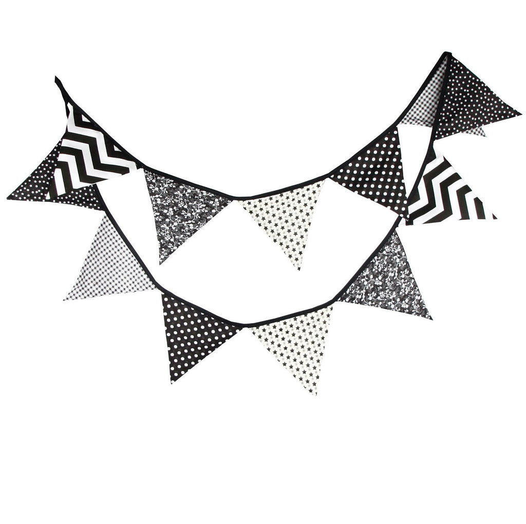 Party Fabric Bunting Flags Garland Set Black Series A7045C