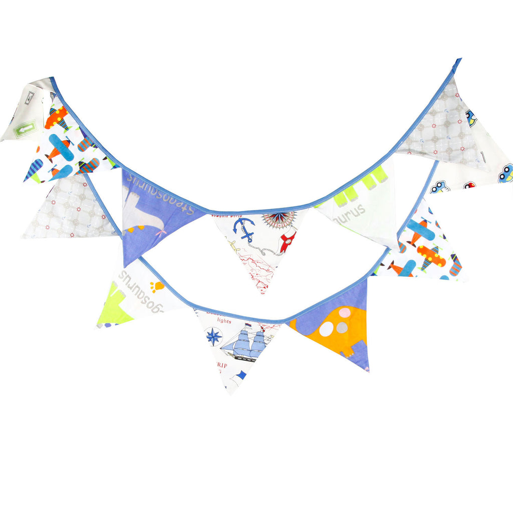 Party Fabric Bunting Flags Garland Set Dino, Cars and Planes A7045D