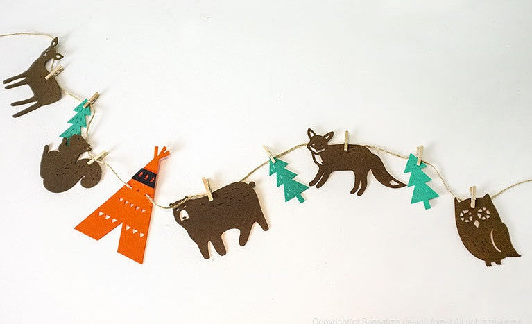 DIY Bunting Garland Set Teepee Forest A704G