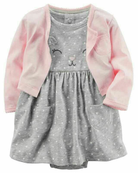 2-Piece Bodysuit Dress & Cardigan Set B20211C