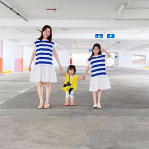 3-15Y Girls Stripes Hem Dress G21035M (Mother size available)
