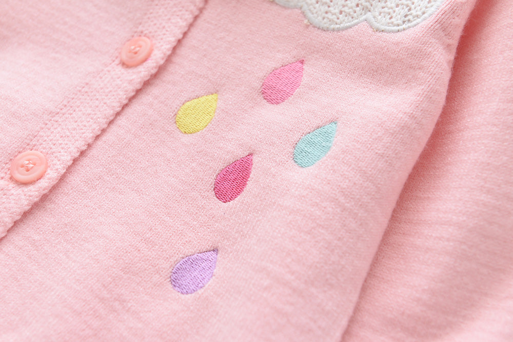 2-7Y Girls Rainbow Pink Cardigan A2086D