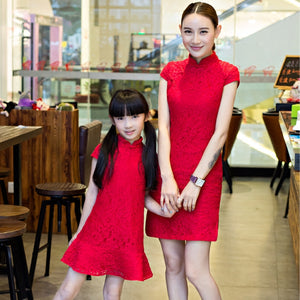 2-10Y Designer Series Red Lace Cheongsam A200C61A (Mother sizes available)